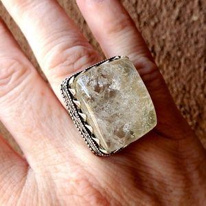 New Crystal Quartz 925 Silver Ring. Size 6.75